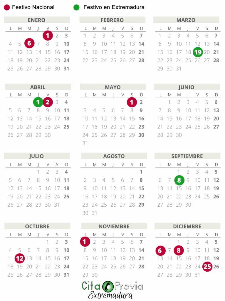 Calendario Laboral  en Extremadura 2021