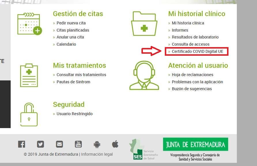 Solicitar pasaporte Covid en centro de salud online extremadura