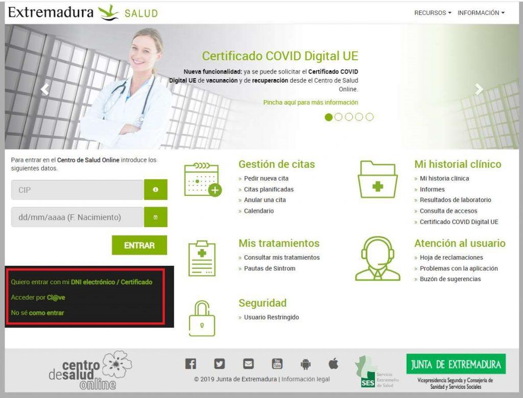 Cómo obtener el pasaporte Covid en centro de salud online extremadura