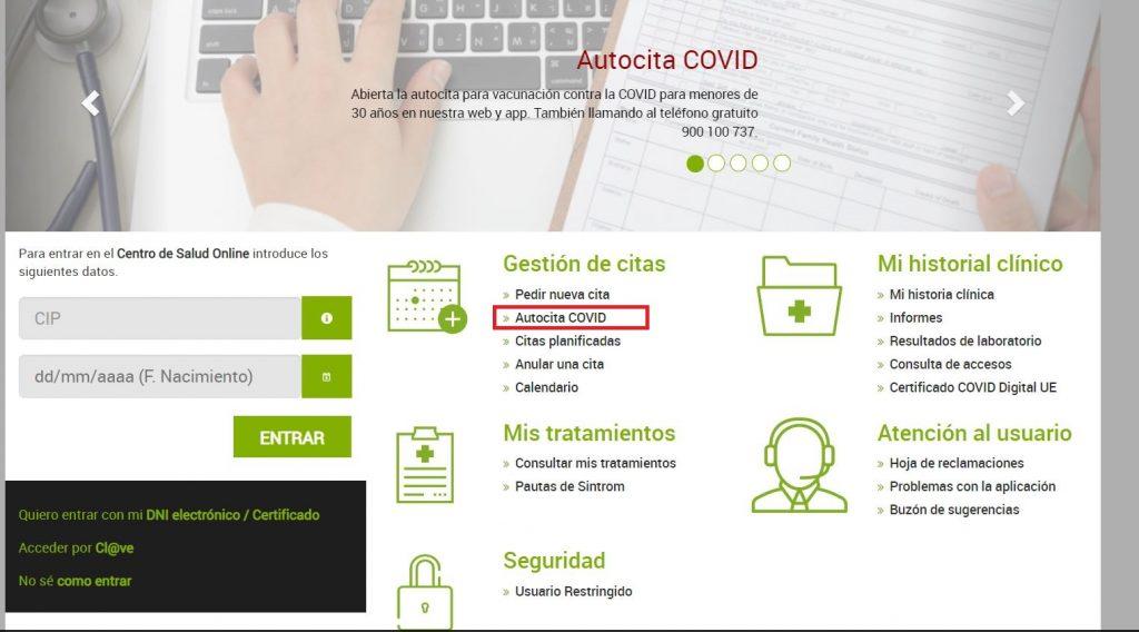 Cómo obtener Autocita vacunación Covid19 online en Extremadura